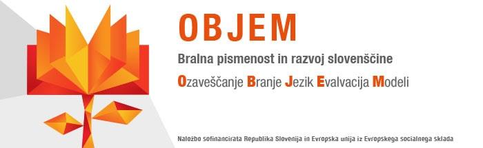 Logotip Objem z besedilom Bralna pismenost Slovenije