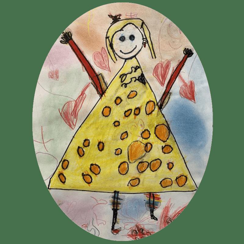 Narisana punčka z rumenim krilom