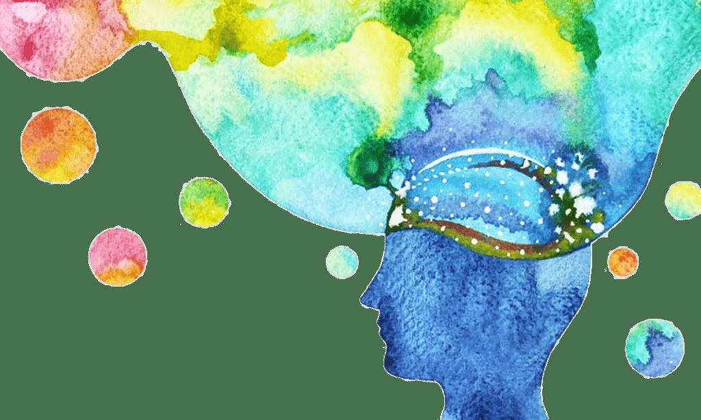 Ilustracija človeka v barvah modre  z mislimi v rumeni in zeleni bravi